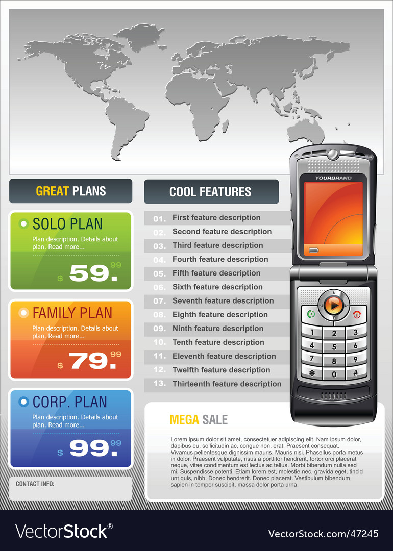 Telecom provider flyer vector | Price: 5 Credit (USD $5)