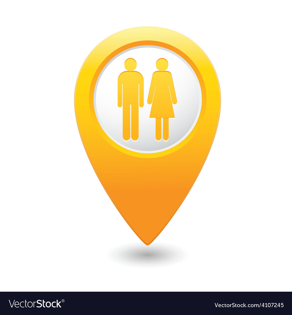 Womenandman map pointer yellow vector | Price: 1 Credit (USD $1)