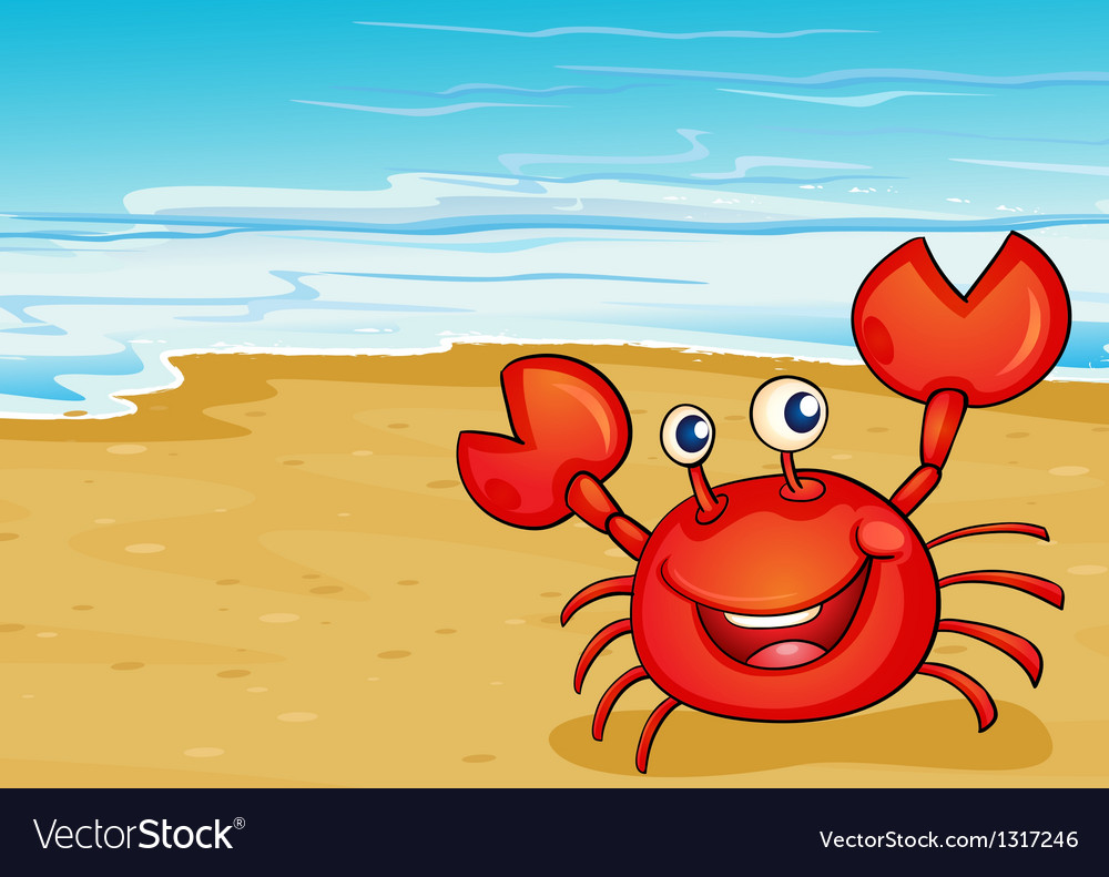 A crab at the seashore vector | Price: 1 Credit (USD $1)