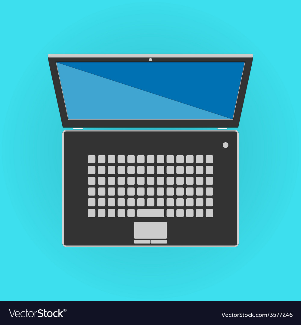 Black isolated laptop front side vector | Price: 1 Credit (USD $1)