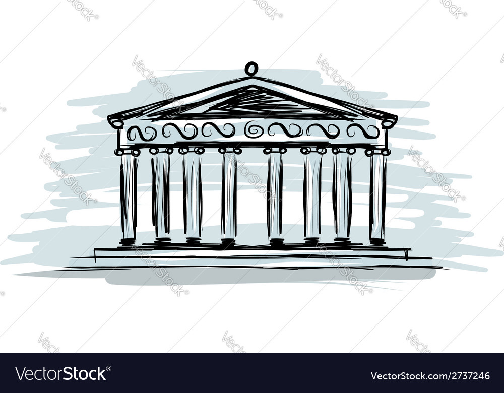 Building with columns sketch for your design vector | Price: 1 Credit (USD $1)