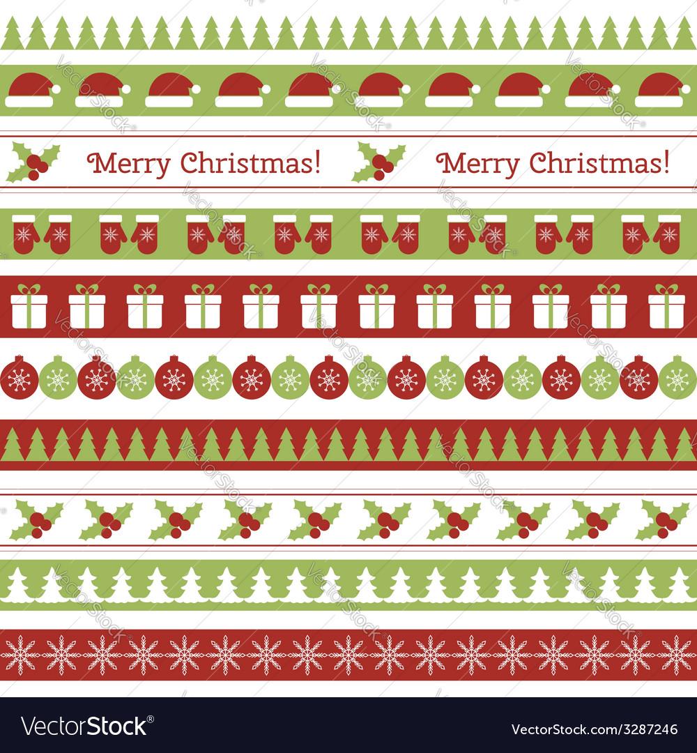 Christmas seamless borders vector | Price: 1 Credit (USD $1)