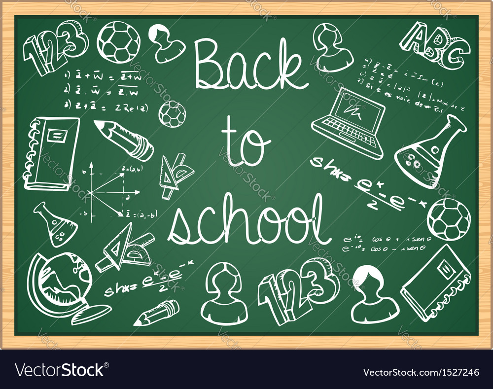Education back to school icons over green vector | Price: 1 Credit (USD $1)