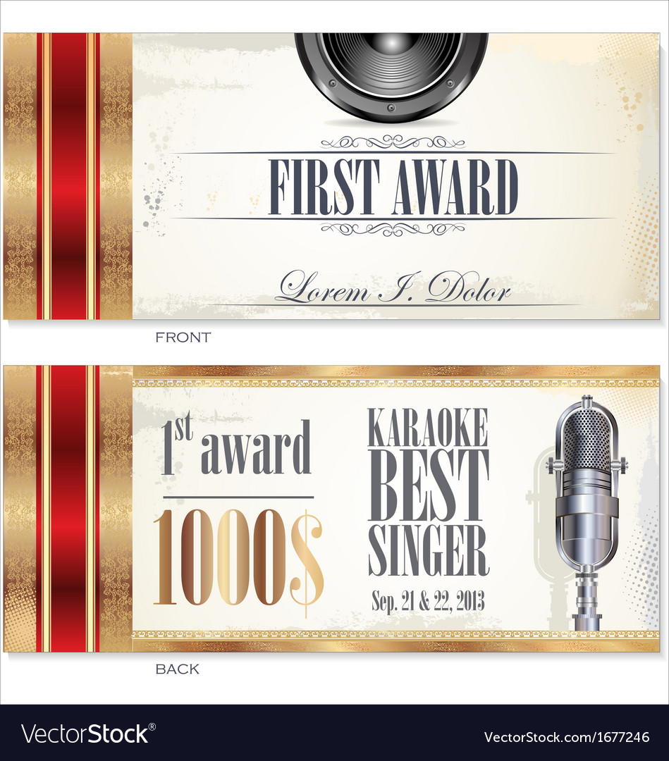 First award card karaoke template vector | Price: 1 Credit (USD $1)