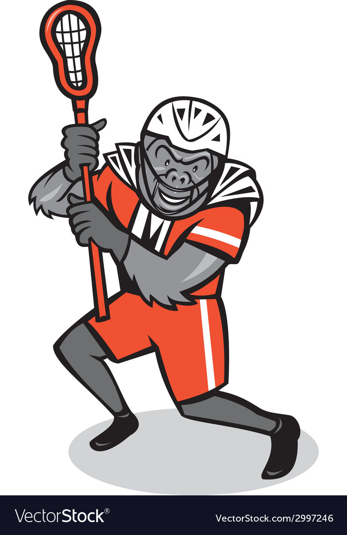 Gorilla lacrosse player cartoon vector | Price: 1 Credit (USD $1)
