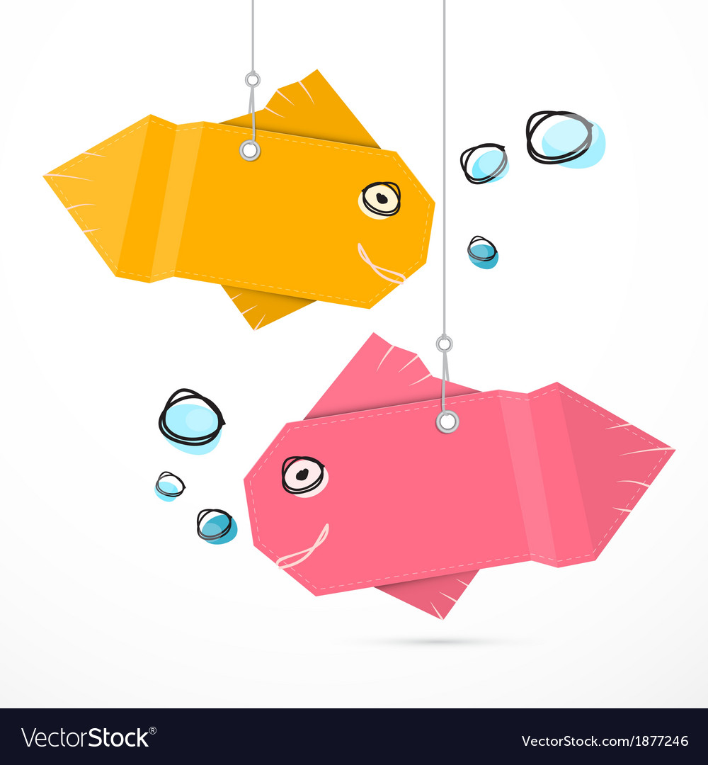 Paper fish hang on strings with bubbles vector | Price: 1 Credit (USD $1)