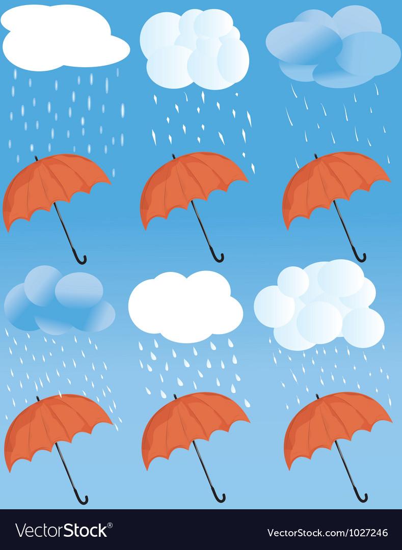 Rainny weather statuses vector | Price: 1 Credit (USD $1)