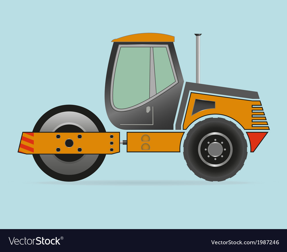 Road roller isolated on background vector | Price: 1 Credit (USD $1)
