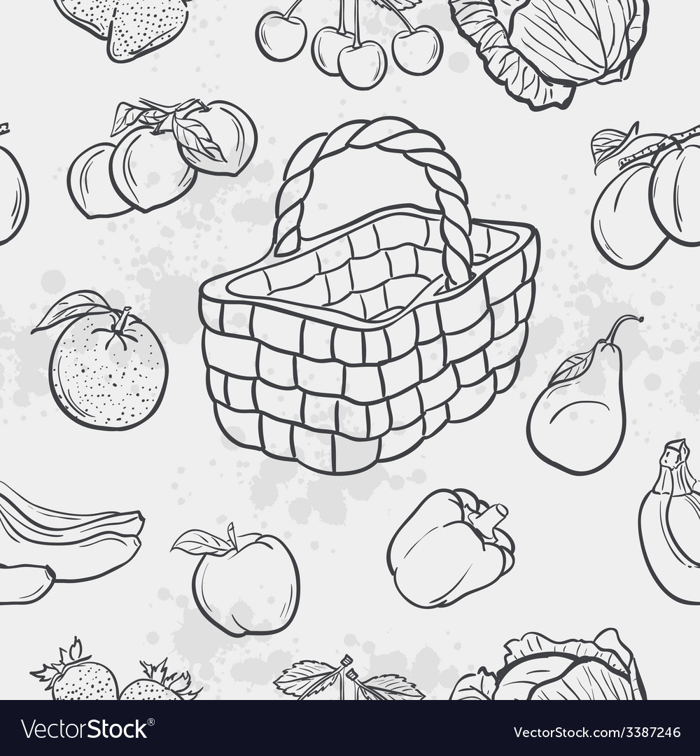 Seamless texture and vegetables fruit and baskets vector | Price: 1 Credit (USD $1)