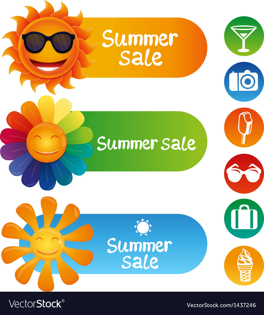 Set with summer design elements vector | Price: 1 Credit (USD $1)