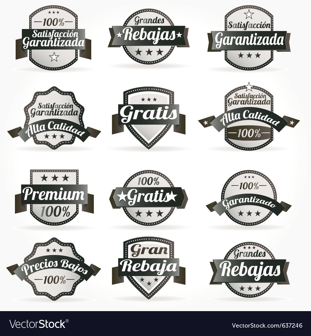 Spanish retro sale labels vector | Price: 1 Credit (USD $1)