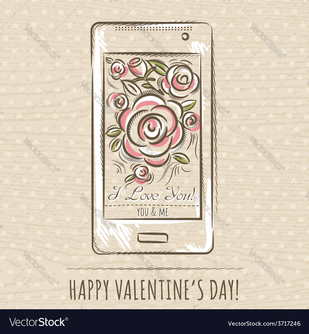 Valentine card with smartphone and roses vector | Price: 1 Credit (USD $1)