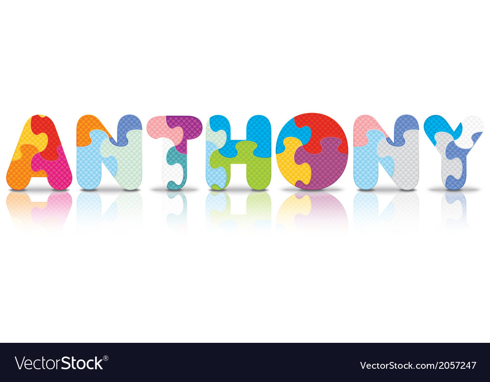 Anthony written with alphabet puzzle vector | Price: 1 Credit (USD $1)