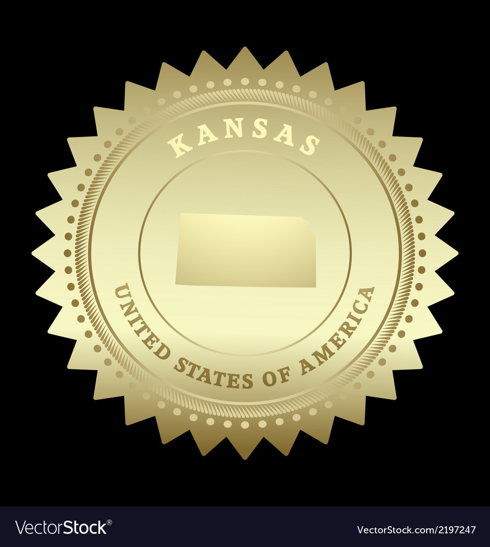 Gold star label kansas vector | Price: 1 Credit (USD $1)