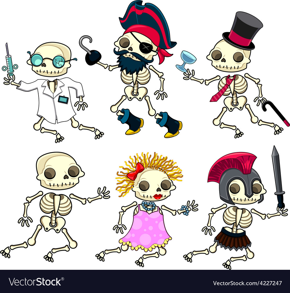 Group of funny skeletons vector   Price: 3 Credit (USD $3)