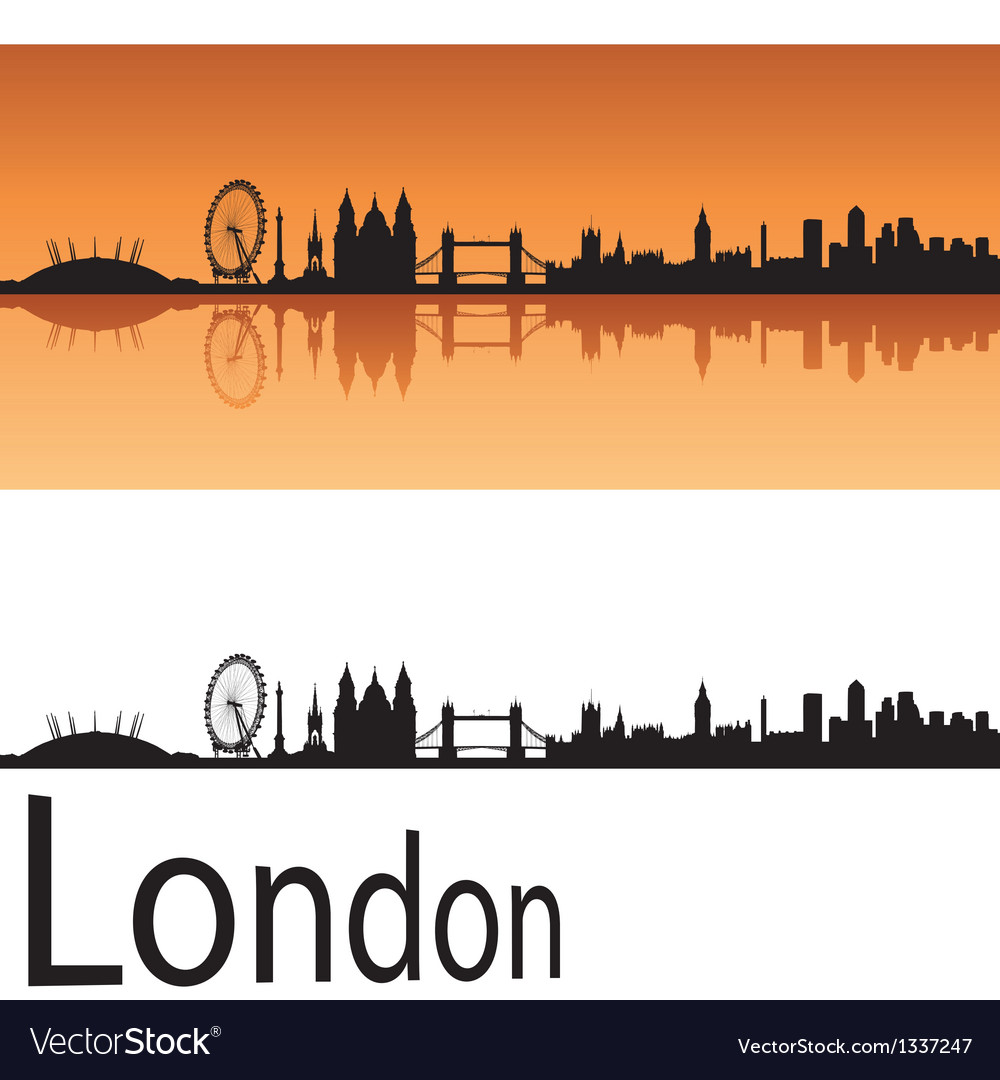 London skyline in orange background vector   Price: 1 Credit (USD $1)