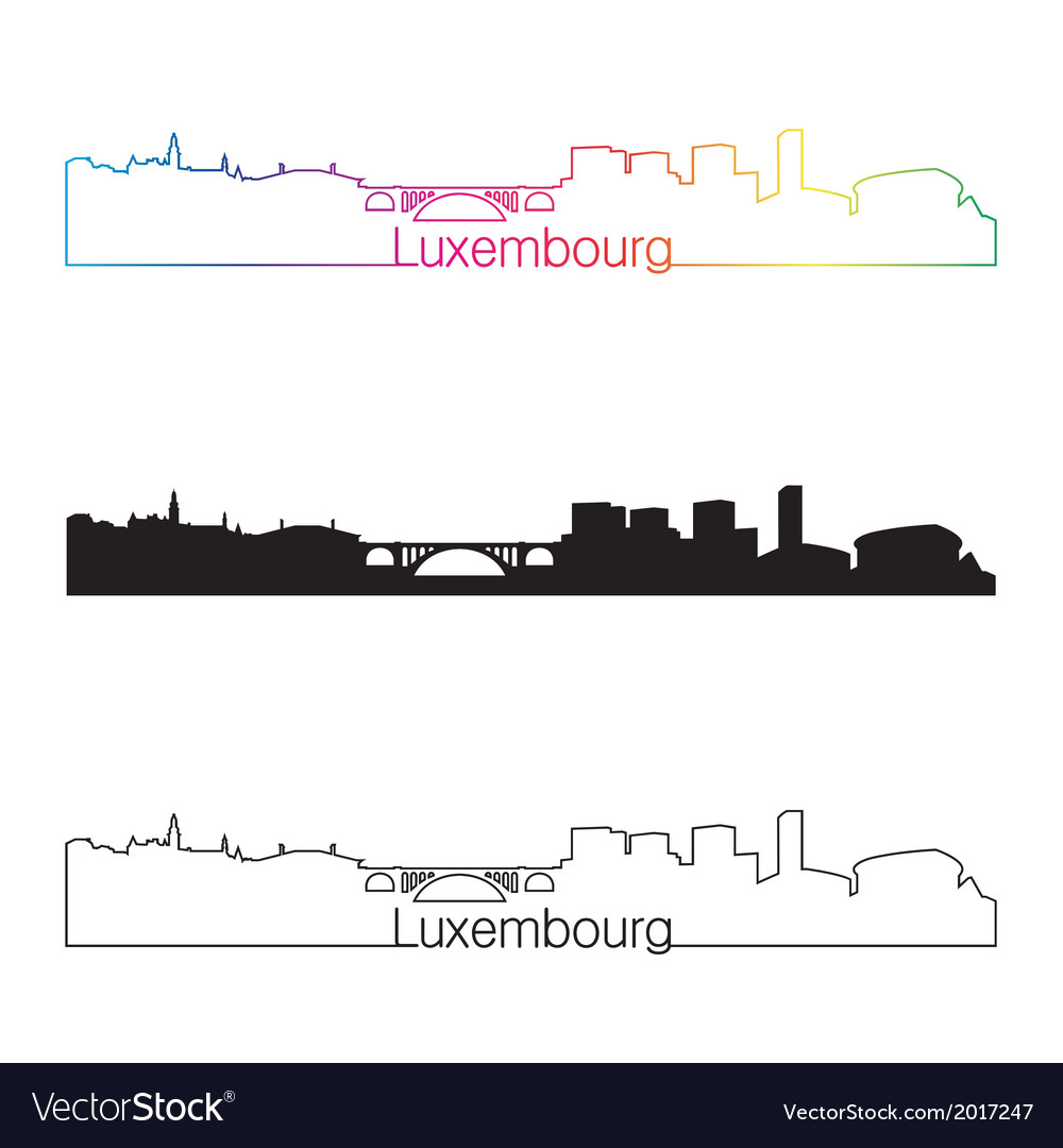 Luxembourg skyline linear style with rainbow vector | Price: 1 Credit (USD $1)