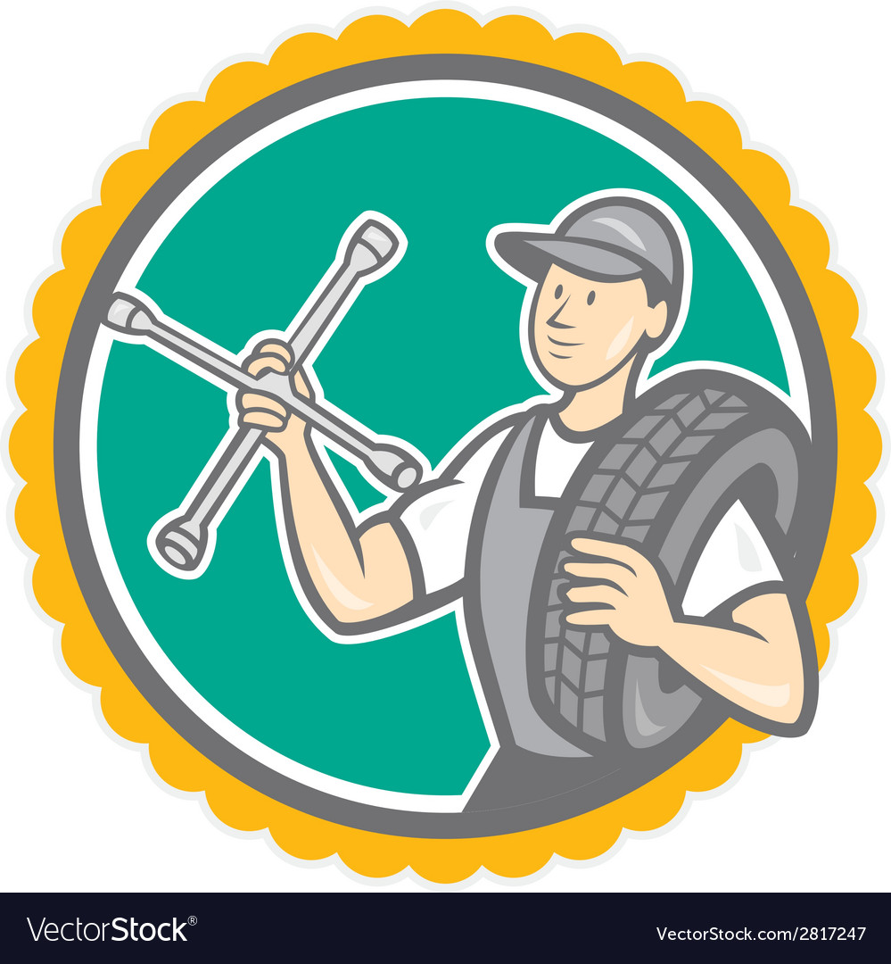 Mechanic with tire wrench rosette cartoon vector | Price: 1 Credit (USD $1)