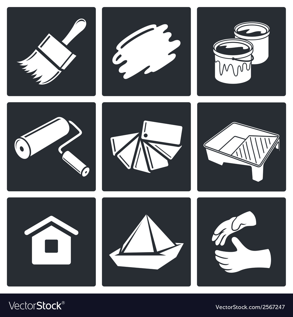 Painting work icon set vector | Price: 1 Credit (USD $1)