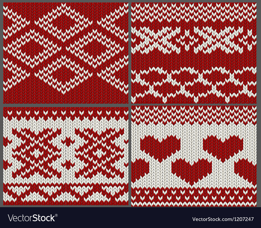 Set of seamless knitted swatches vector | Price: 1 Credit (USD $1)