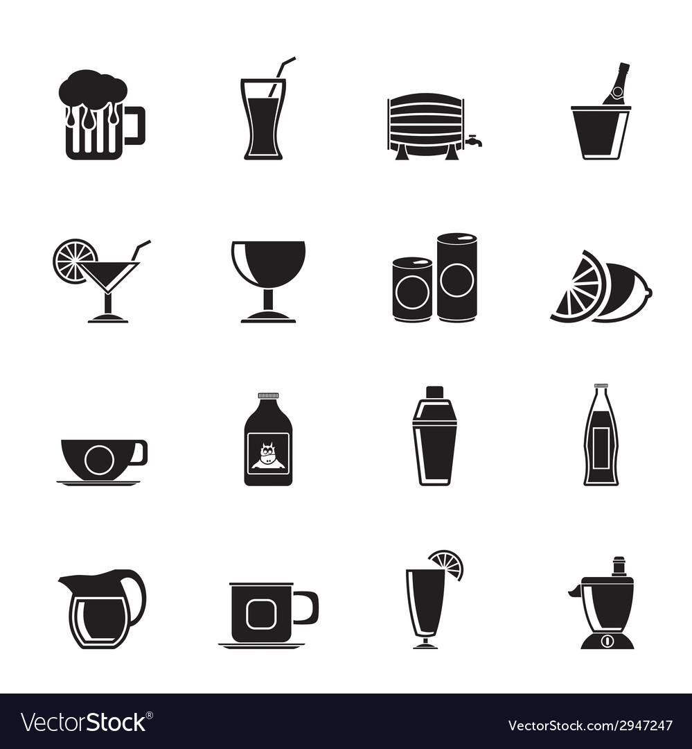 Silhouette beverages and drink icons vector | Price: 1 Credit (USD $1)