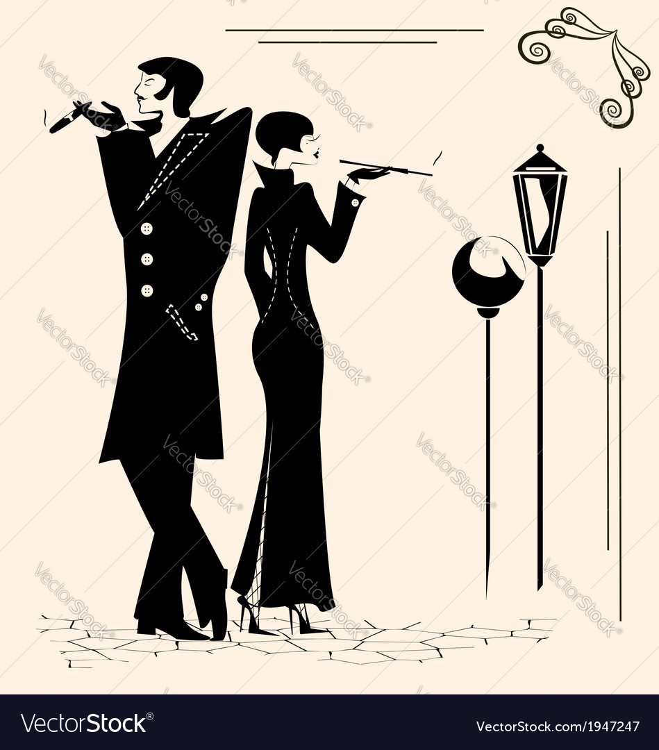 Smoking man and woman vector | Price: 1 Credit (USD $1)