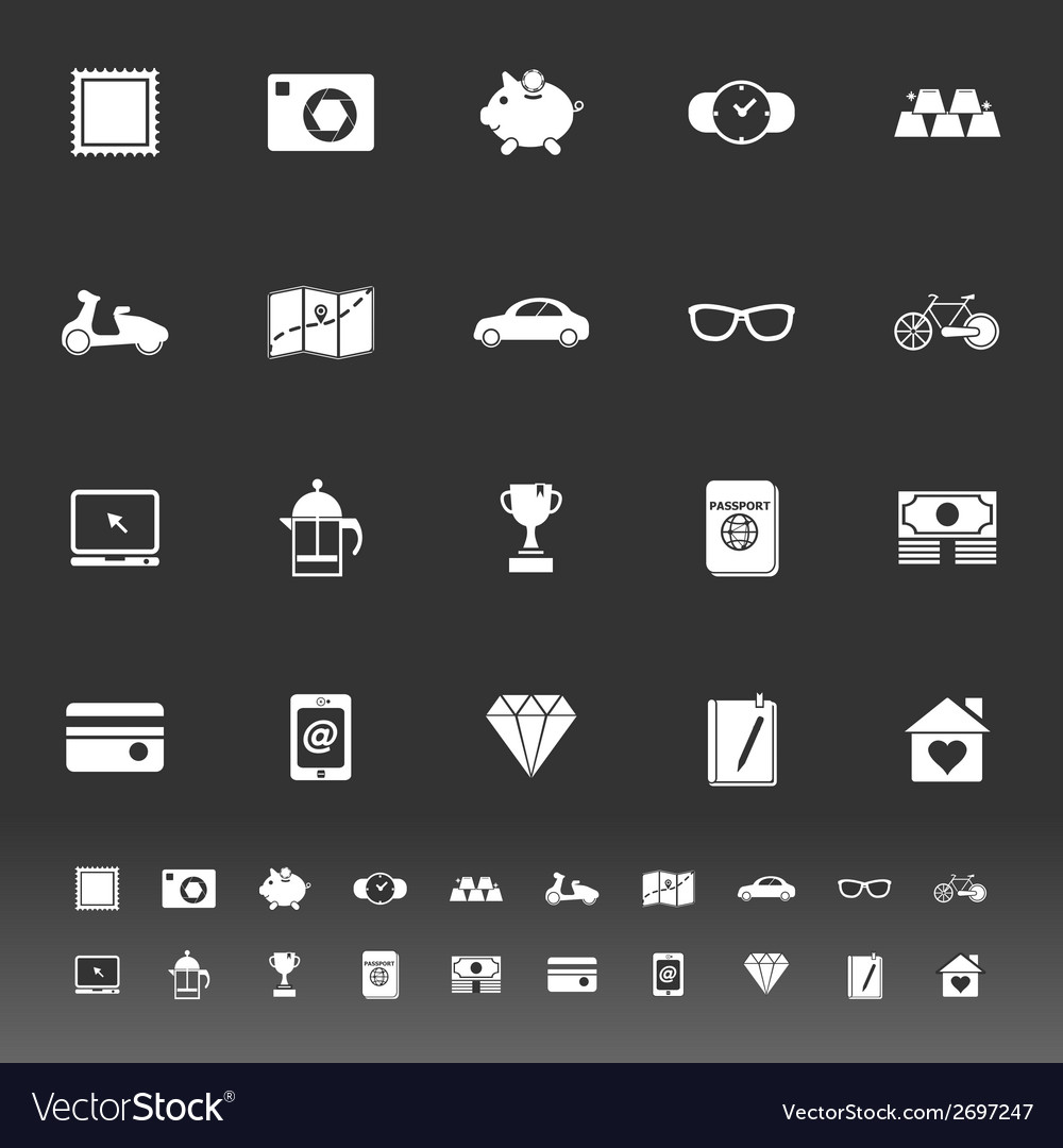 The useful collection icons on gray background vector | Price: 1 Credit (USD $1)