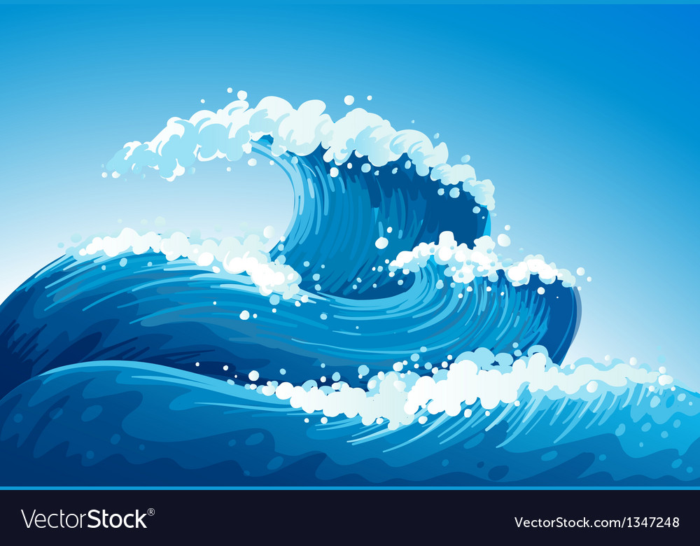A sea with giant waves vector | Price: 1 Credit (USD $1)