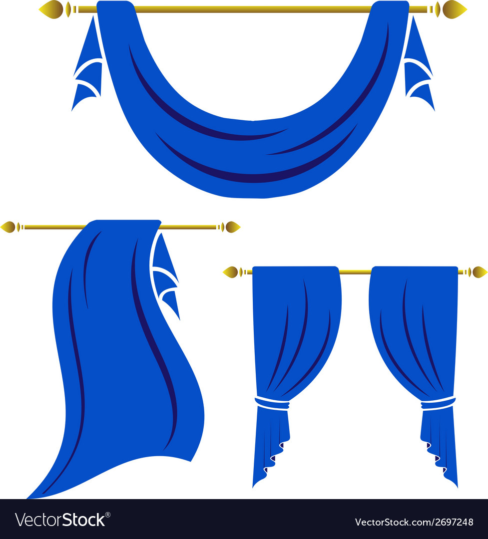 Blue curtain vintage set on white background vector | Price: 1 Credit (USD $1)