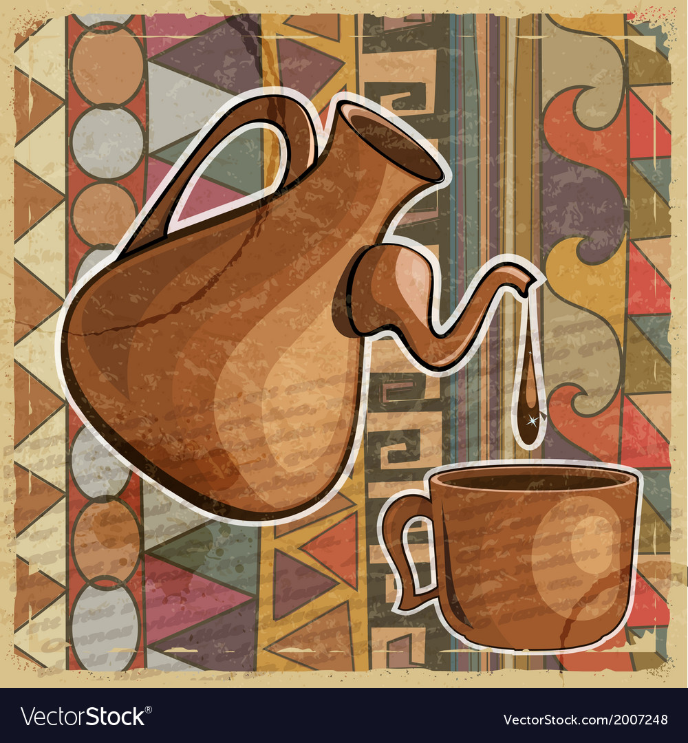 Coffee pot and cup of coffee in the ethnic style vector | Price: 1 Credit (USD $1)