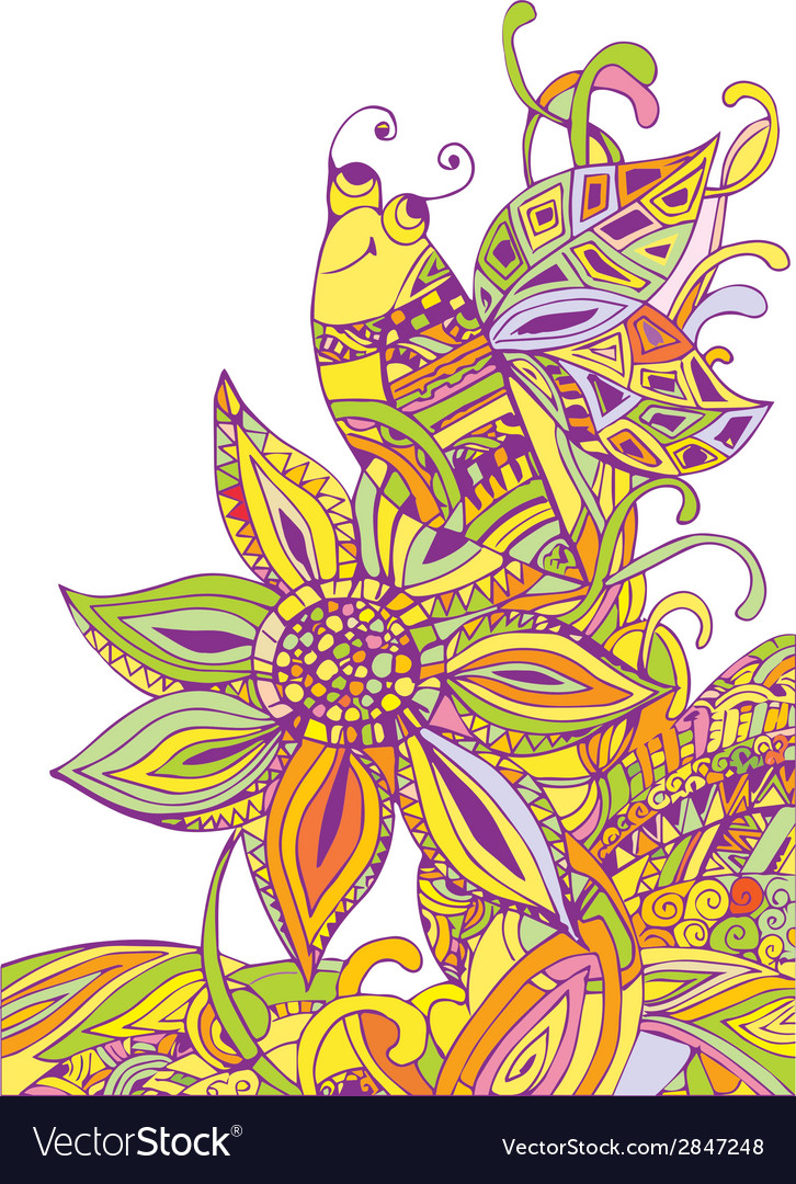 Doodle bee on flower vector | Price: 1 Credit (USD $1)