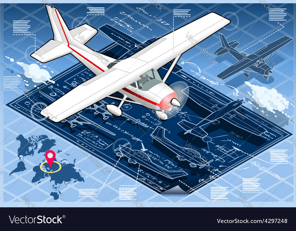 Isometric infographic airplane blue print vector | Price: 3 Credit (USD $3)