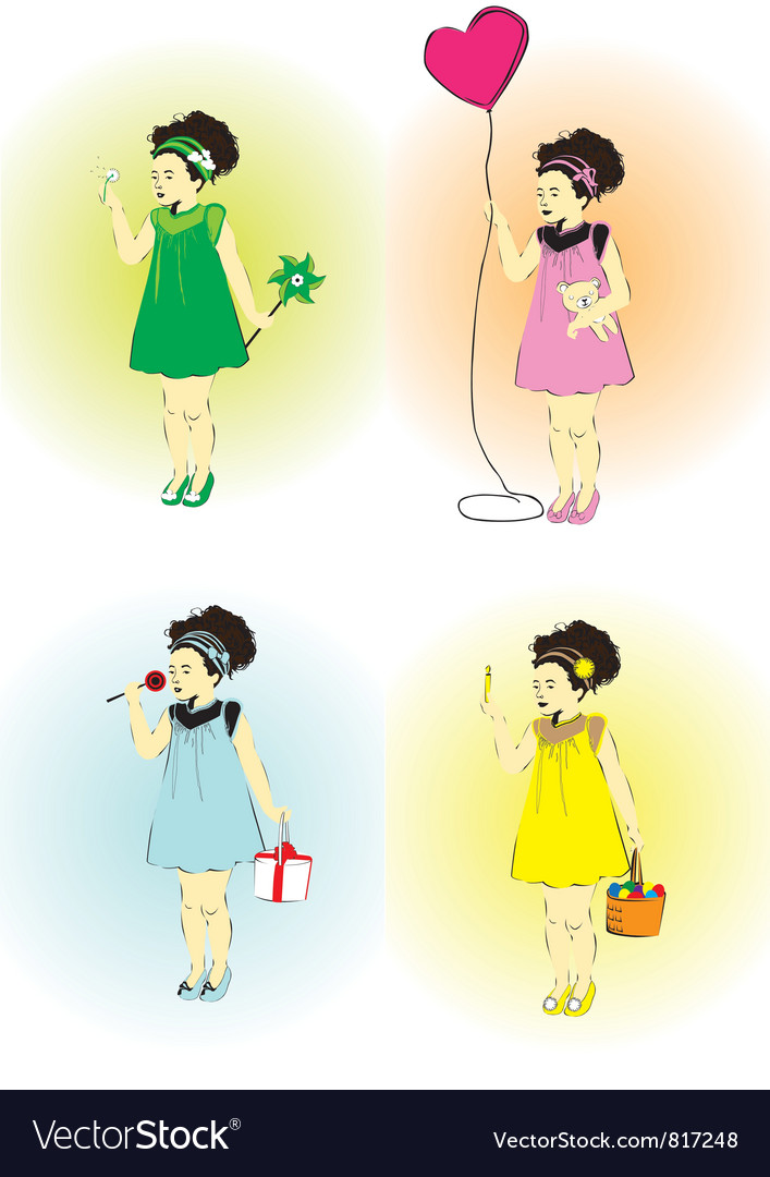 Little girl on a holiday vector | Price: 1 Credit (USD $1)