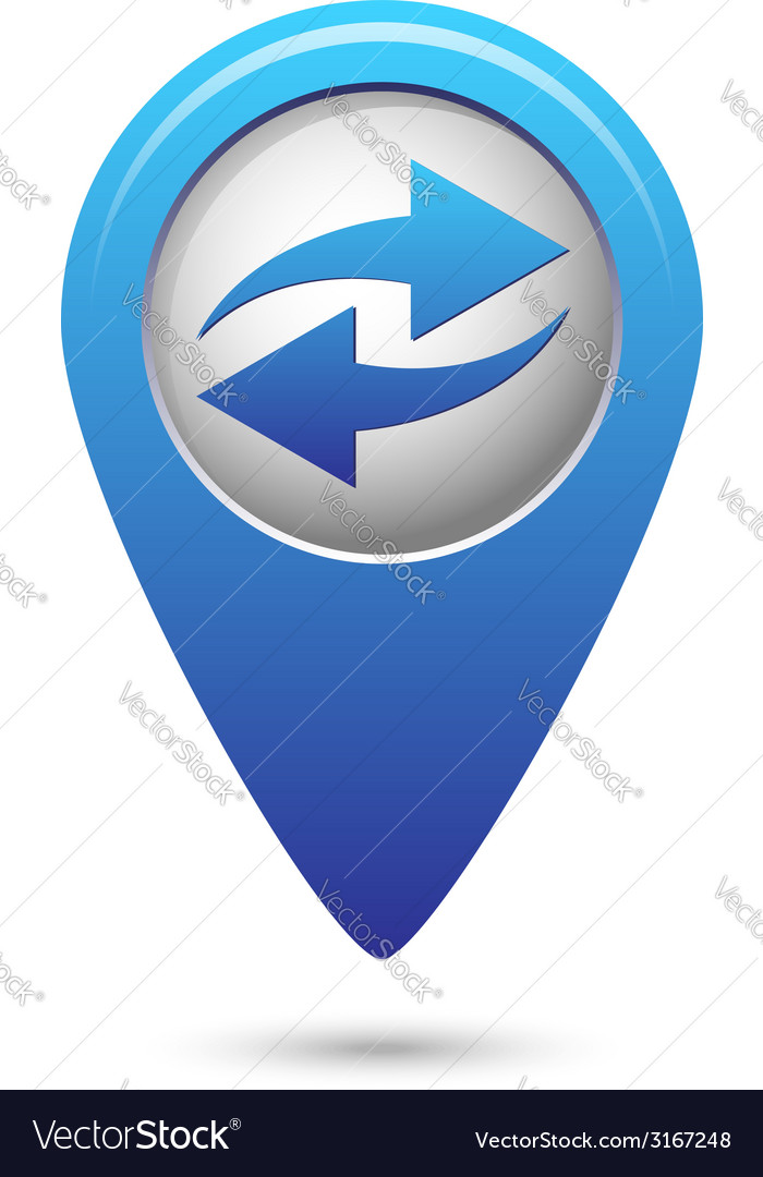 Map pointer with two arrows vector | Price: 1 Credit (USD $1)
