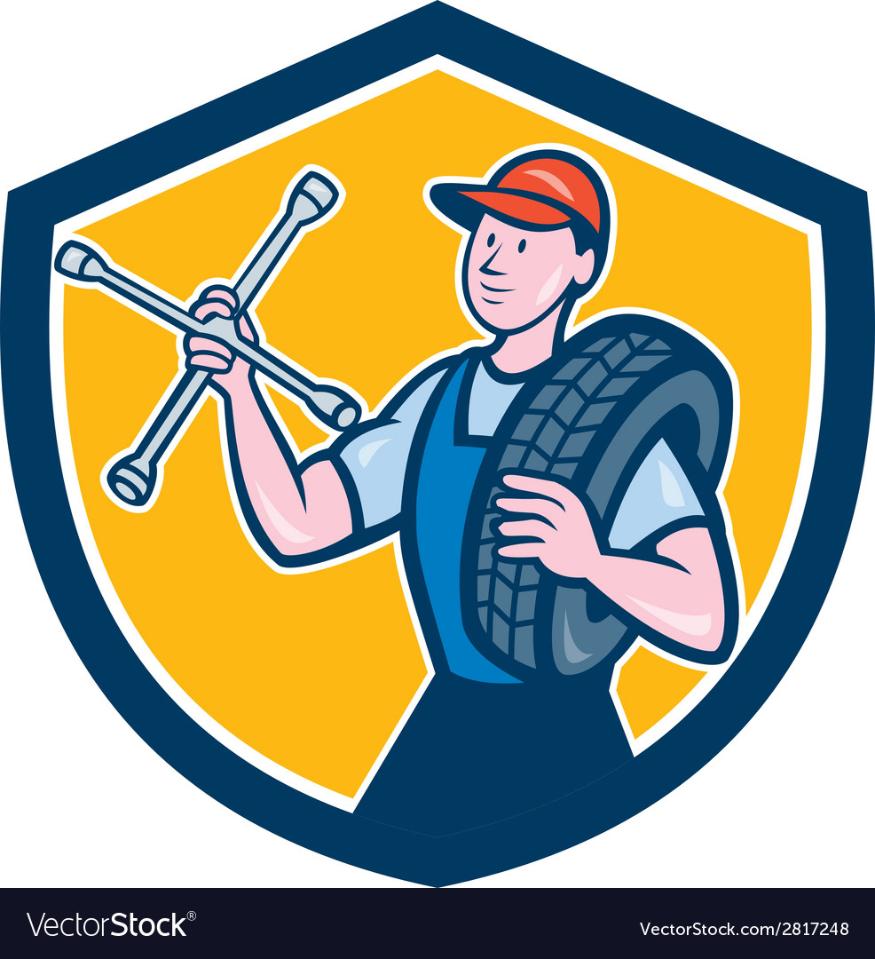 Mechanic with tire wrench shield cartoon vector | Price: 1 Credit (USD $1)