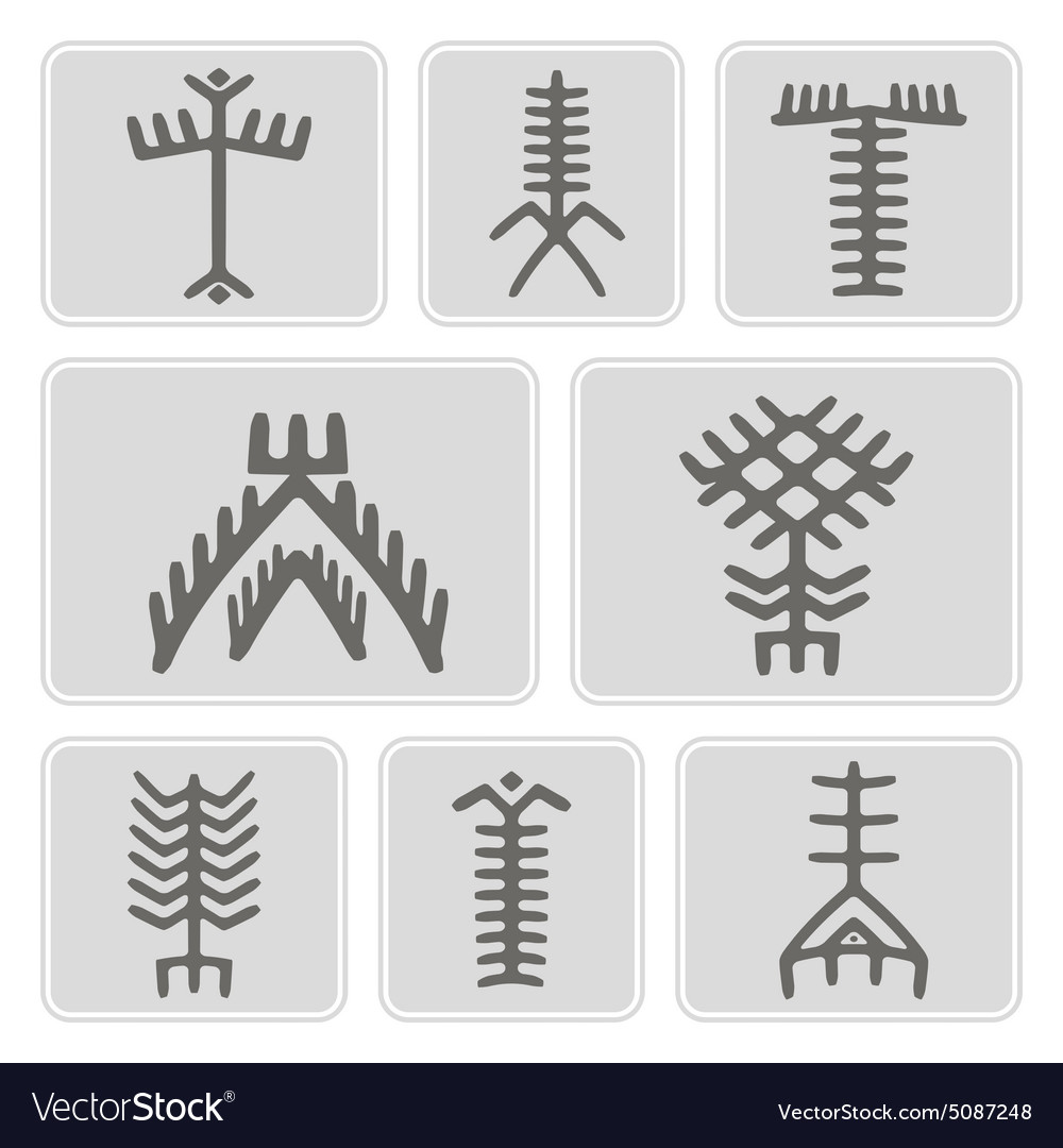 Monochrome icons with touareg tattoo symbols vector