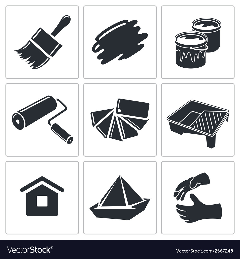Painting work icon collection vector | Price: 1 Credit (USD $1)