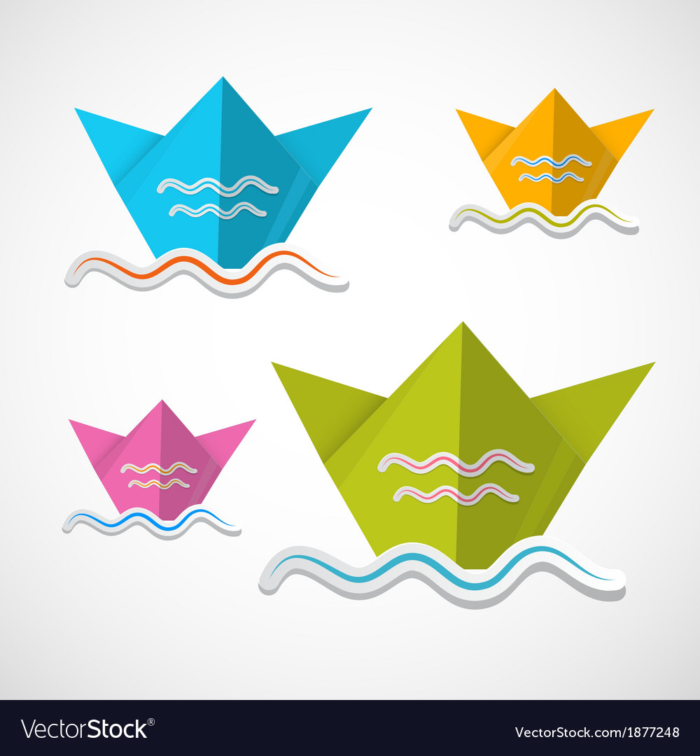 Paper boat origami set vector | Price: 1 Credit (USD $1)