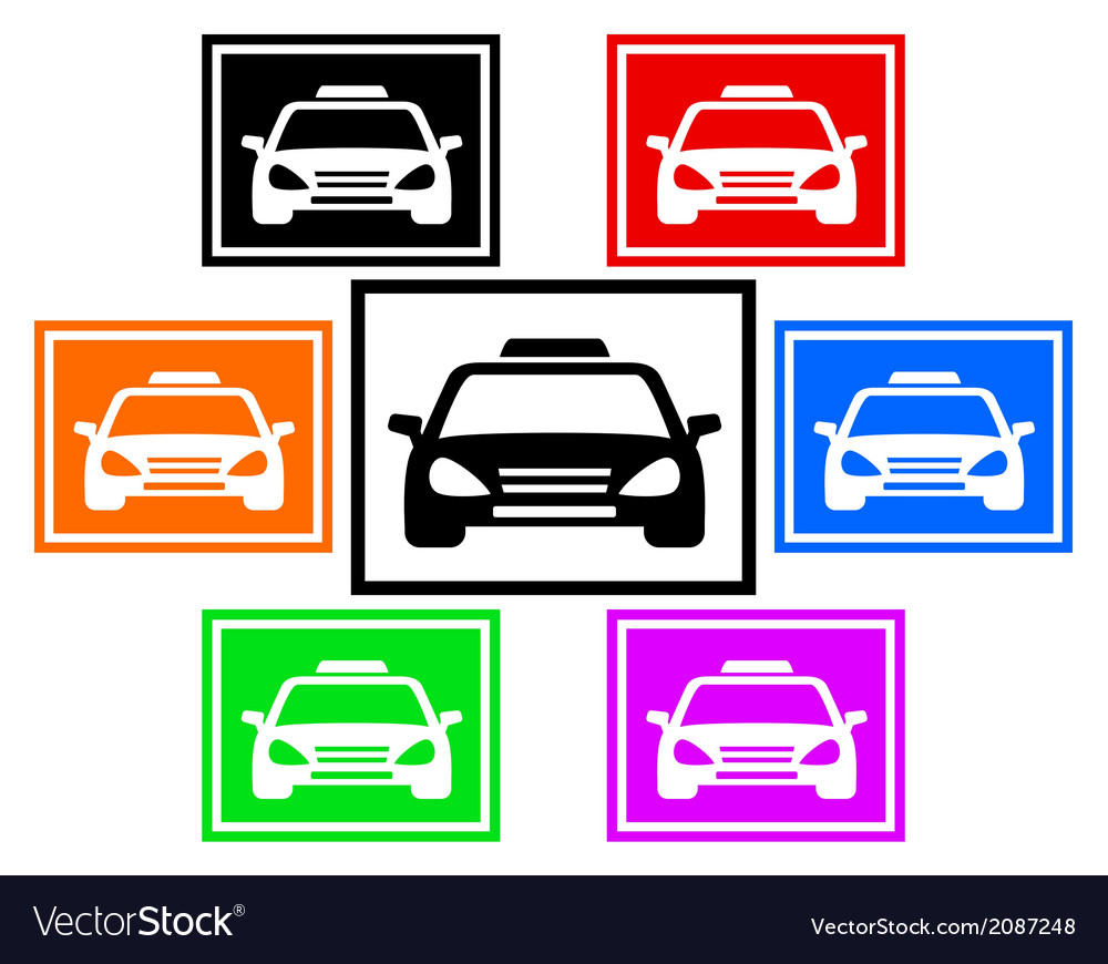 Set colorful icon with taxi car vector | Price: 1 Credit (USD $1)