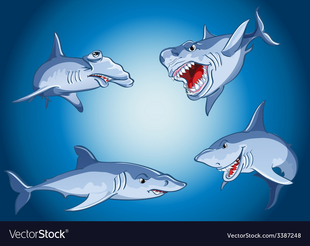 Set of scary sharks in cartoon style vector | Price: 1 Credit (USD $1)