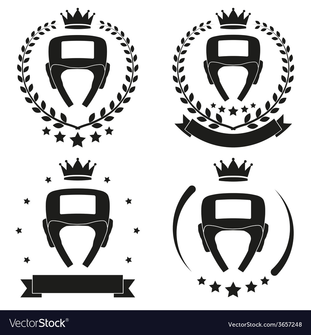 Set of vintage boxing club badge and label vector | Price: 1 Credit (USD $1)