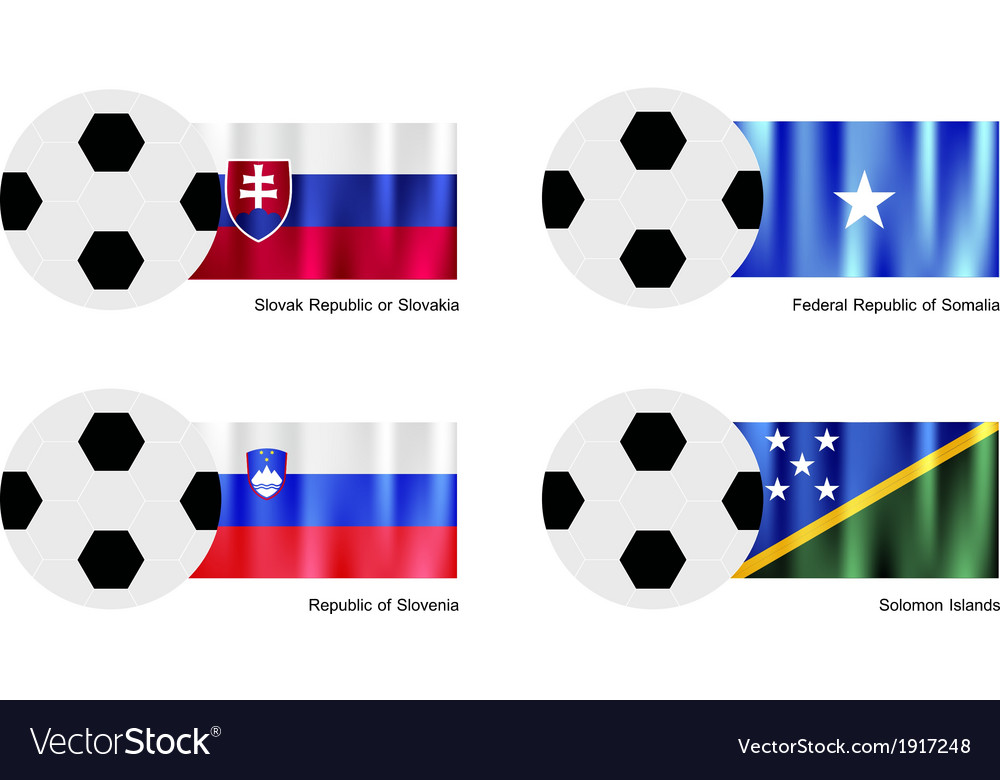 Soccer ball with slovakia somalia slovenia flag vector | Price: 1 Credit (USD $1)
