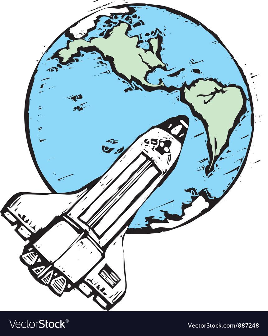 Space shuttle in orbit vector | Price: 1 Credit (USD $1)