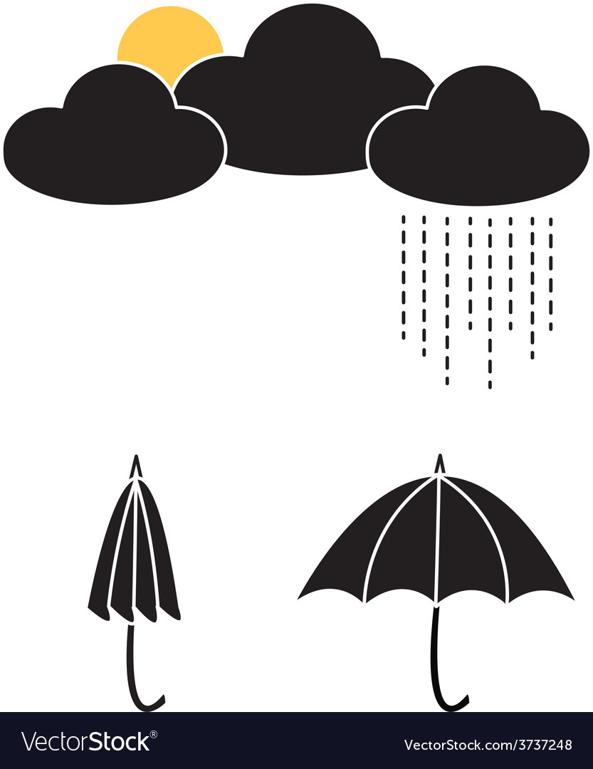Sun and rain with clouds and umbrellas vector   Price: 1 Credit (USD $1)