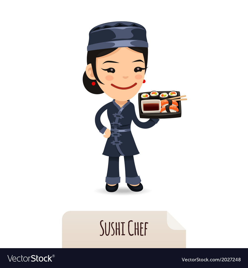 Sushi chef with tray vector | Price: 1 Credit (USD $1)