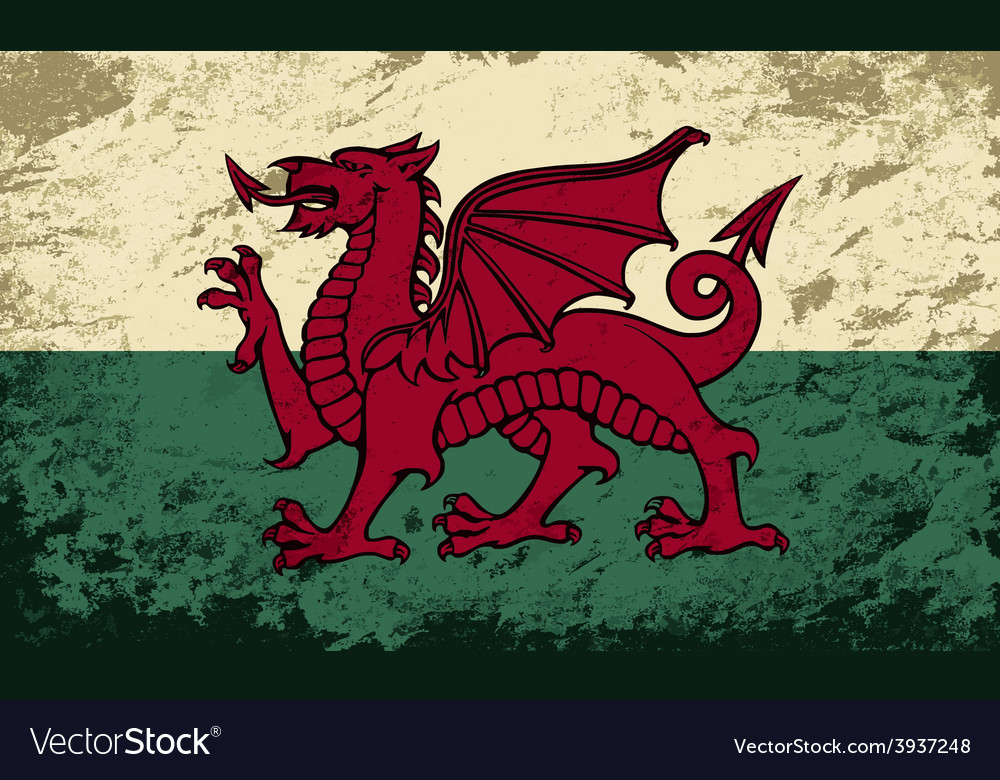 Welsh flag grunge background vector | Price: 1 Credit (USD $1)