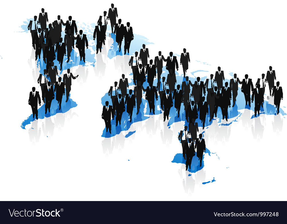 World map and business people concept vector | Price: 1 Credit (USD $1)