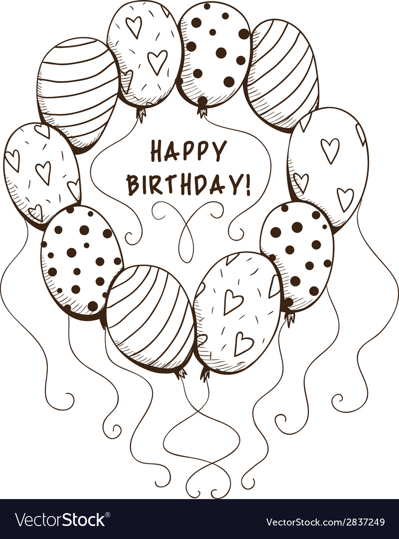 Air balloons frame with text for birthday party vector | Price: 1 Credit (USD $1)