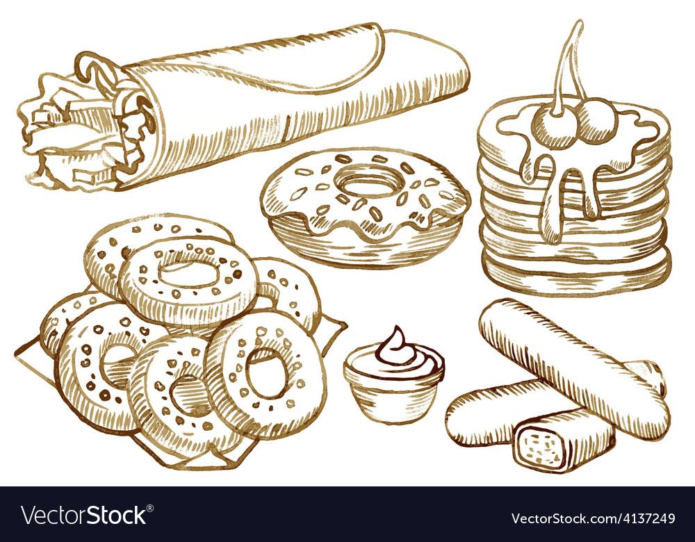 American food set vector | Price: 1 Credit (USD $1)