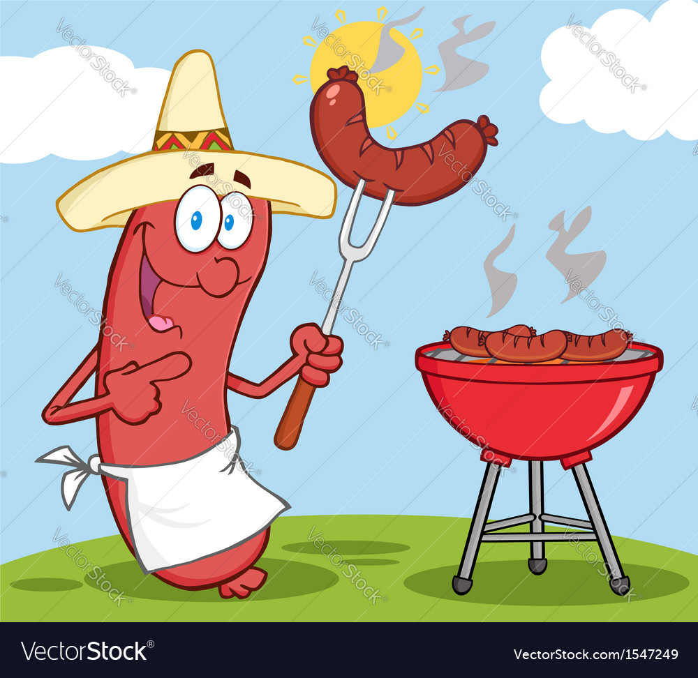 Bbq cooked sausage cartoon vector | Price: 3 Credit (USD $3)
